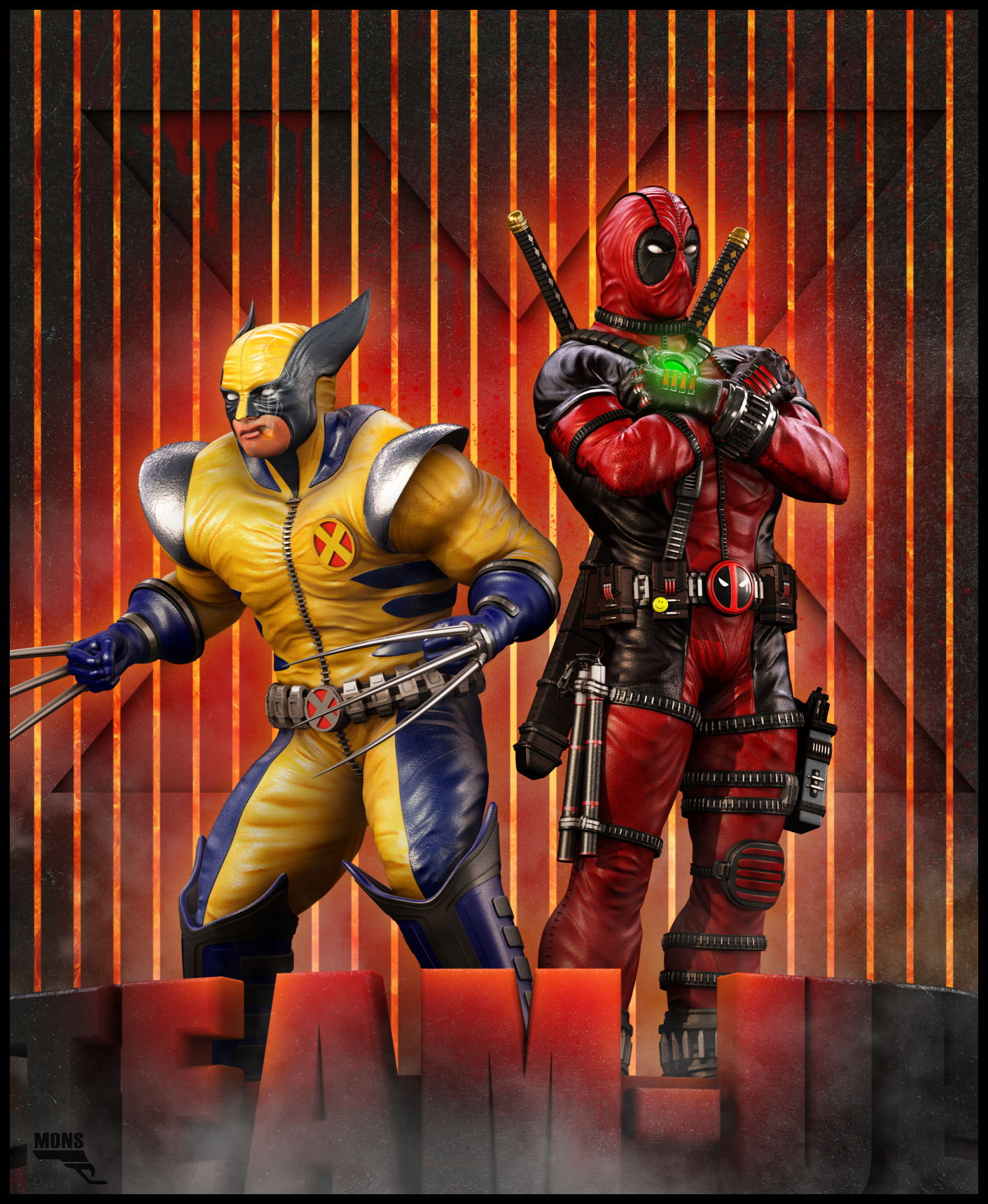 Deadpool and Wolverine Team-up. by MarcMons007