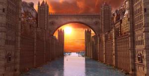 Fantasy Water Town Sunset