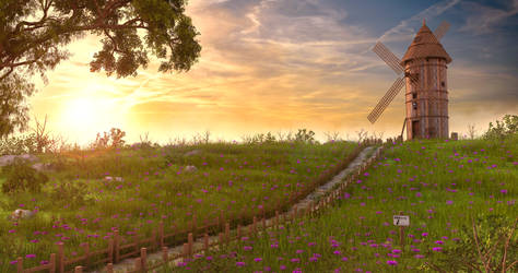 Sunset WindMill by MarcMons007