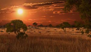 Sunset Savannah 3d environment