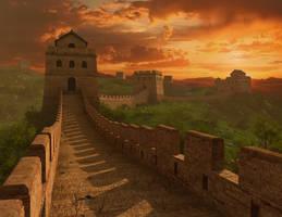 Sunset Great wall of China