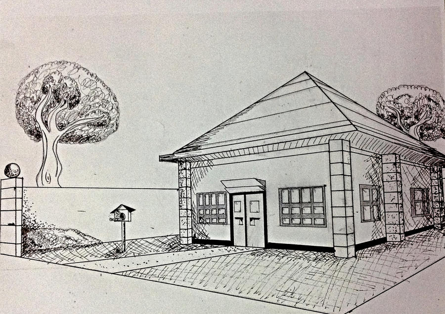 Line Art House : House lineart in perspective view by punkgirl simeone on deviantart
