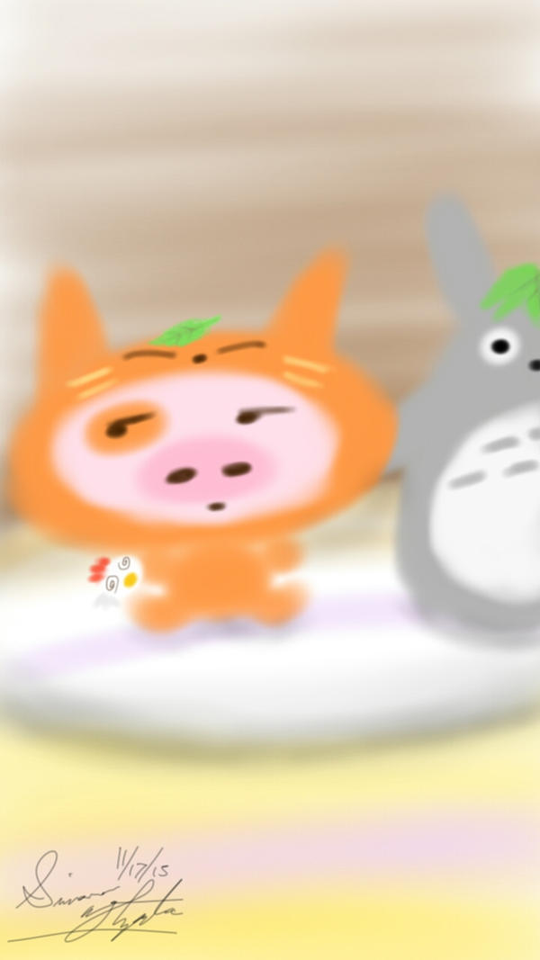 McDull, Totoro, and a Pillow by PunkGirl-Simeone