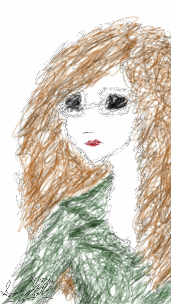 Scribbled Portrait of a Woman by PunkGirl-Simeone