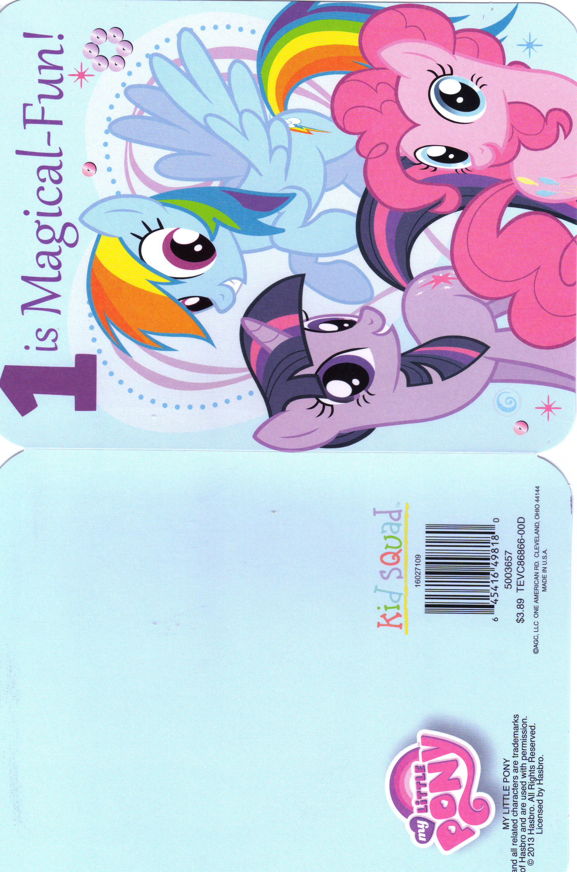 My Little Pony Birthday card Age 1 Front Bak by MadDoggyca