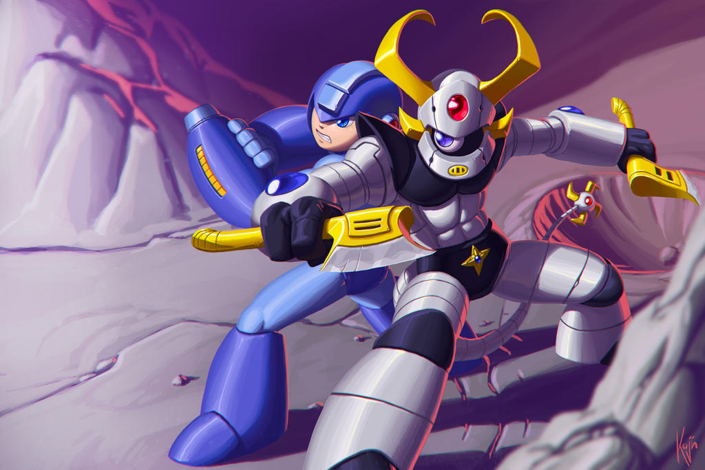 Mega Man and Dengeki Ryouji Team-up! by kajinman