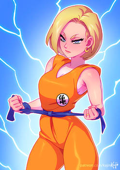 Android18 trying krillin's mutenroshi suit