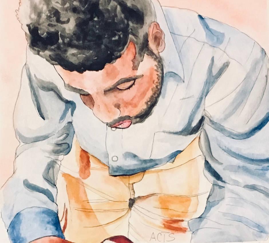 Watercolor: Self Portrait by alston123