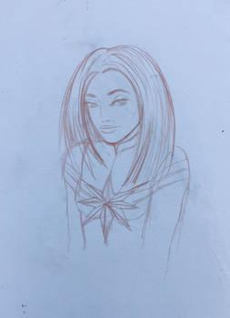 Captain Marvel Final Sketch In Sketchbook