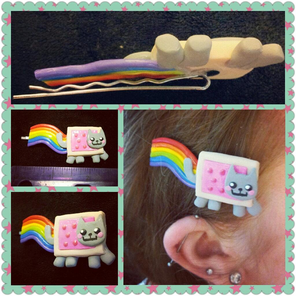 Nyan Cat Hair pin by LimitlessDreamer