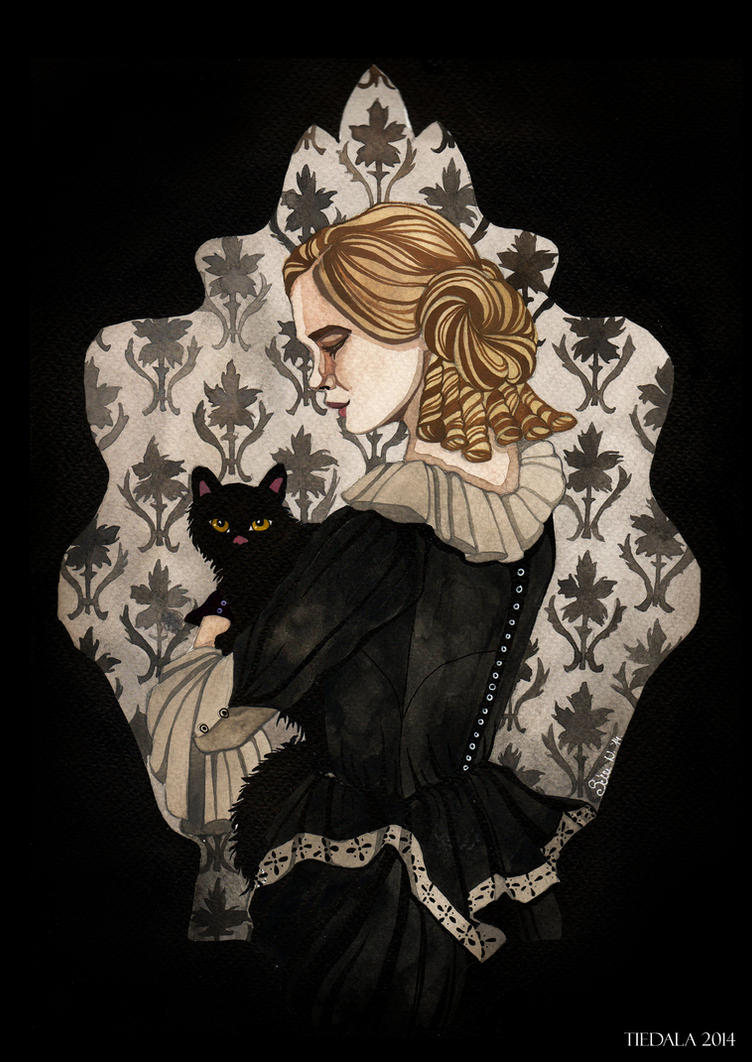 Girl with a cat by Tiedala