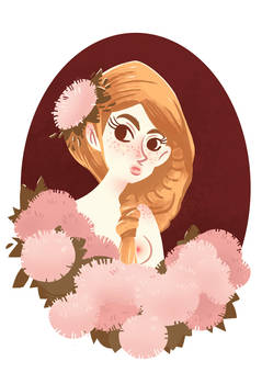 girl and flowers doodle