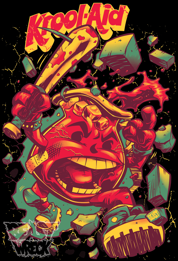 KROOL-AID on black T-shirt by pop-monkey