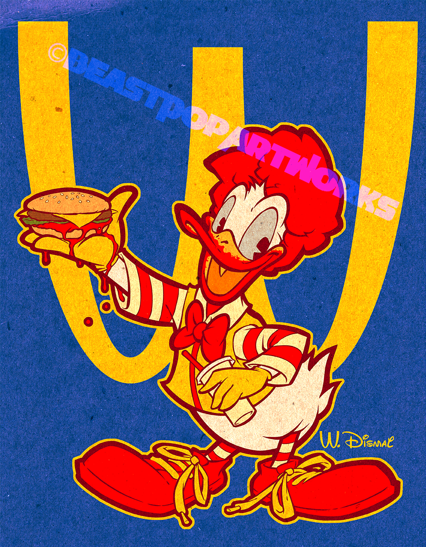 RONALD MCDONALD DUCK shirt design colors by pop-monkey