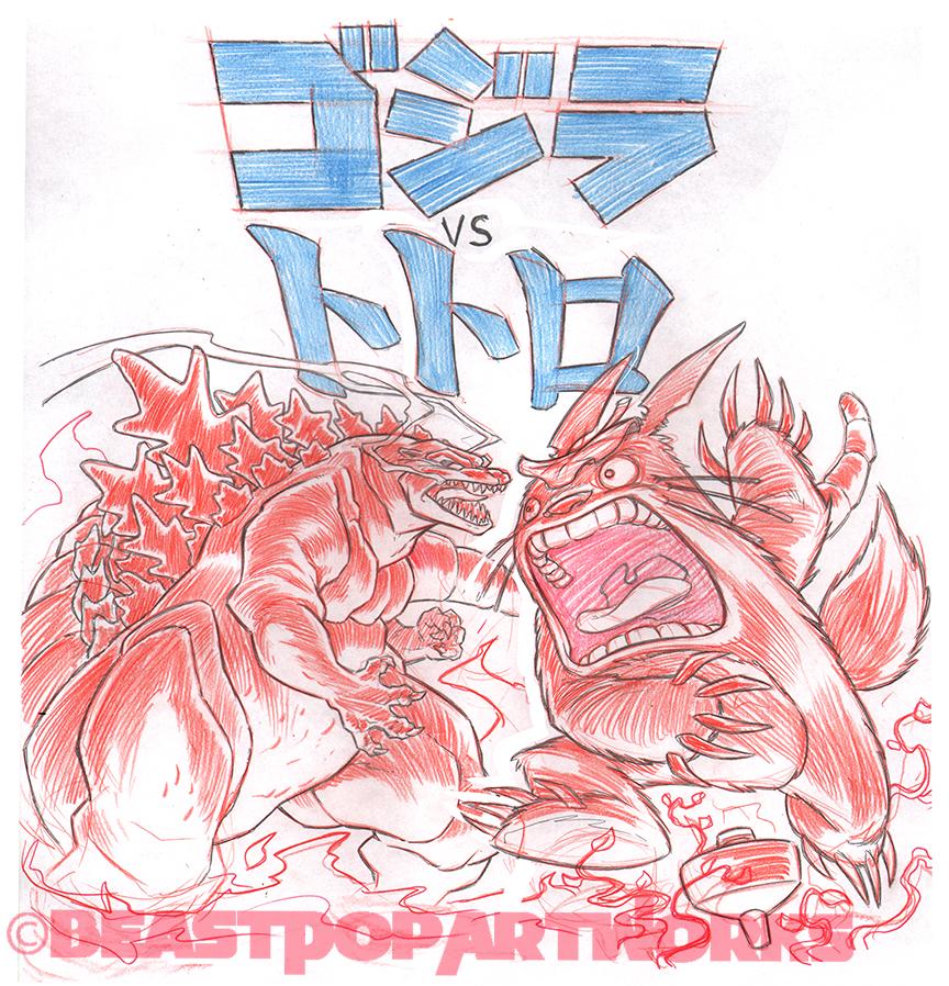 GODZILLA VS. TOTORO raw pencils by pop-monkey