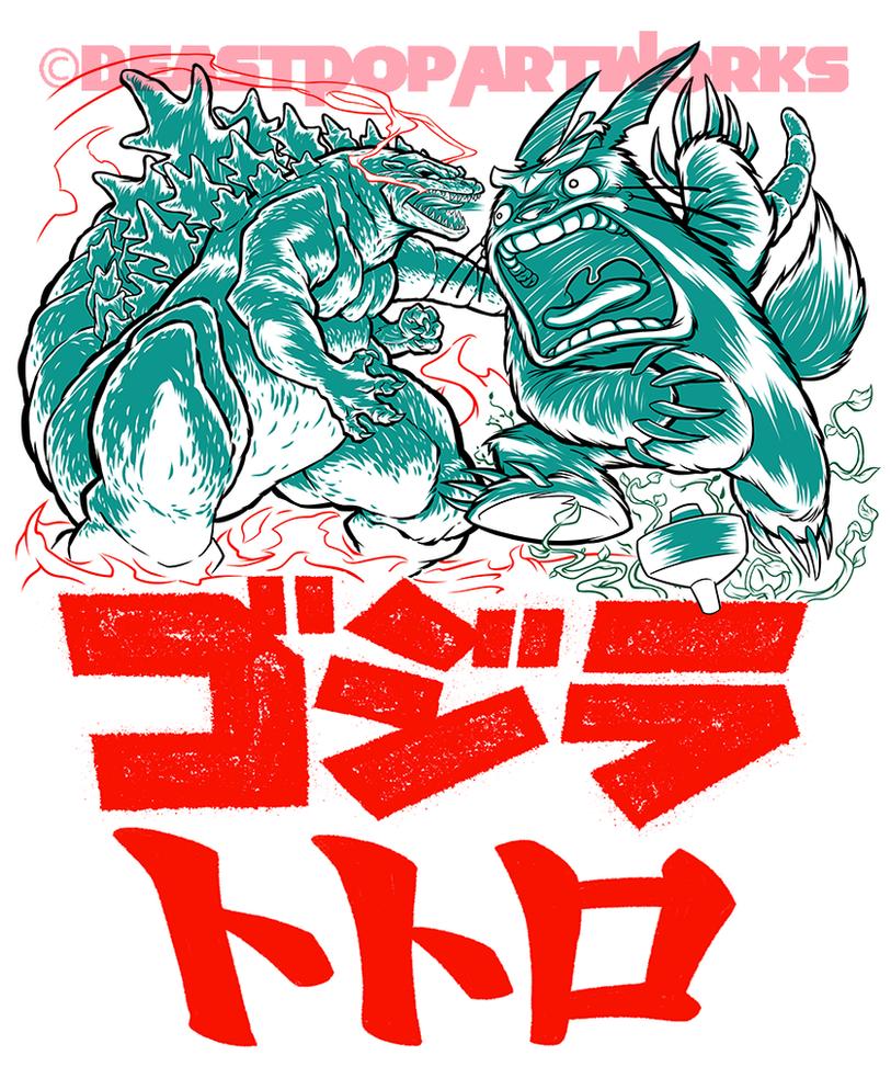 GODZILLA VS. TOTORO inks by pop-monkey