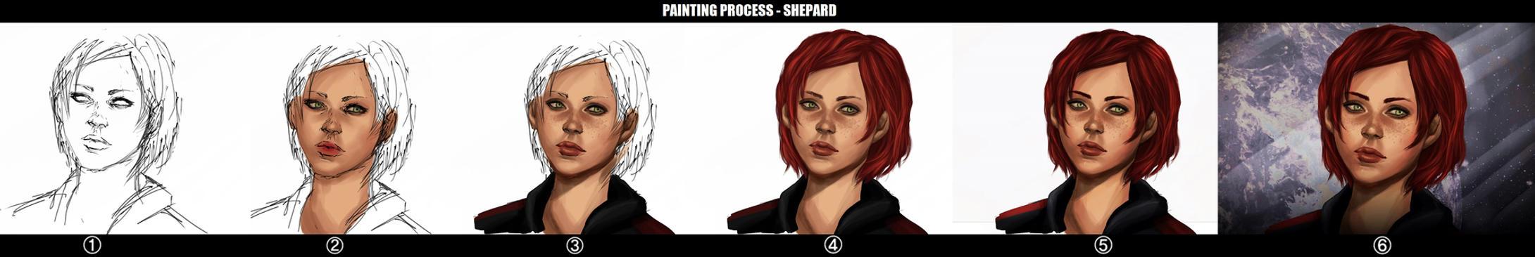 PAINTING PROCESS - Shepard steps by K-yon