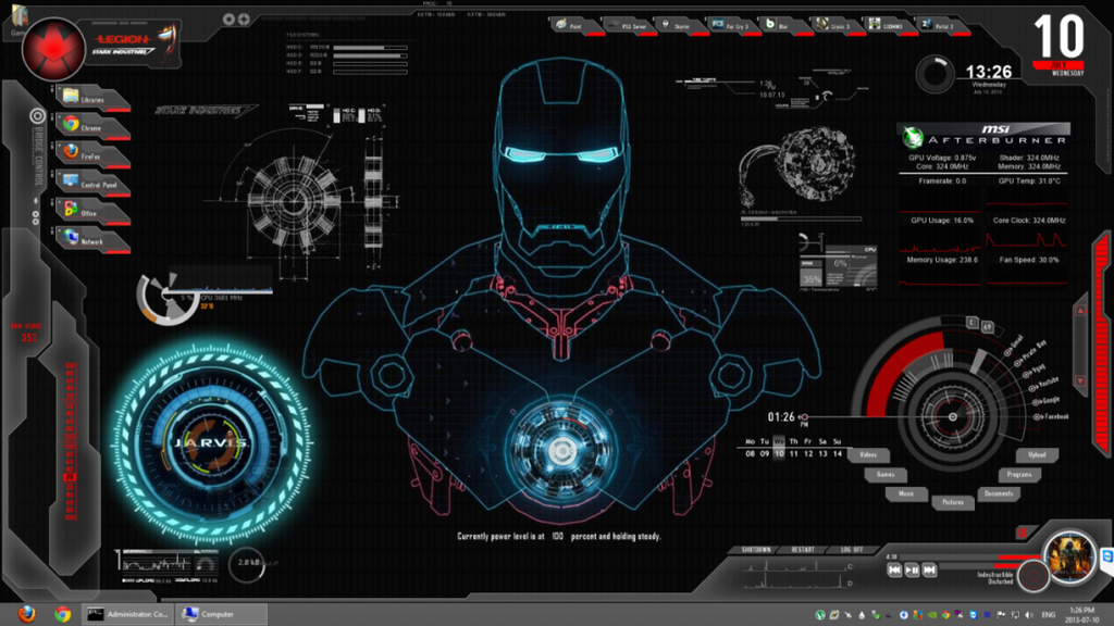 Shield OS Ultimate Skin : Rainmeter by Legion739