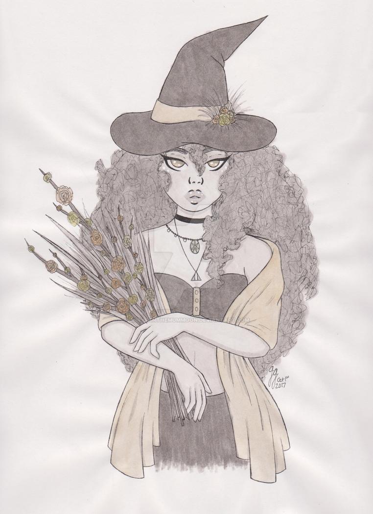 Inktober Day 1: Witch by ChrysanthemumMoon