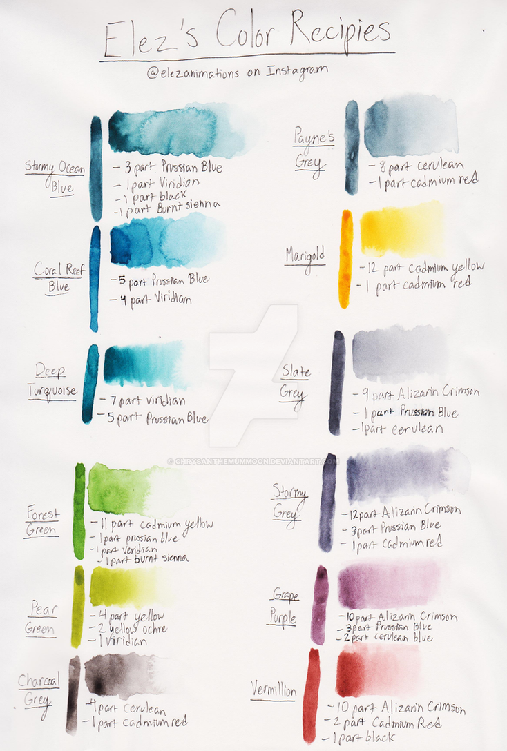 Elez's Watercolor Mixing Recipes by ChrysanthemumMoon
