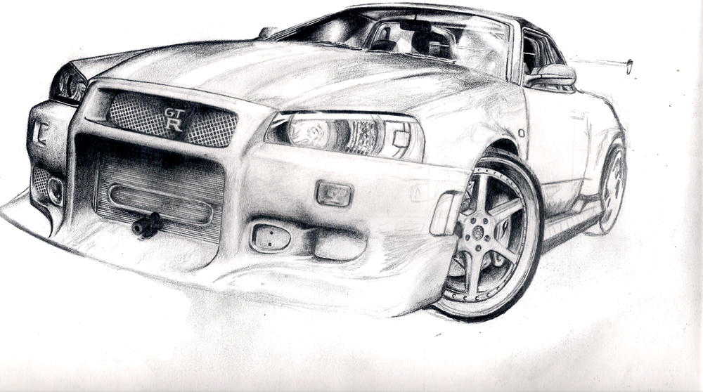 Line Drawing Nissan Gtr : Nissan skyline line drawing