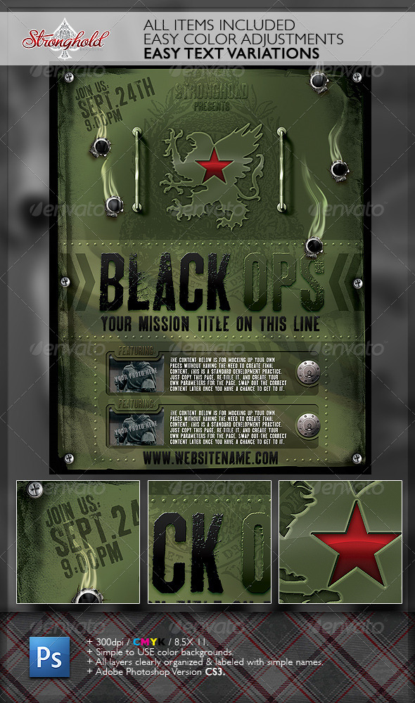 Vintage Black Ops Military Flyer Template By Strongholdstudios On