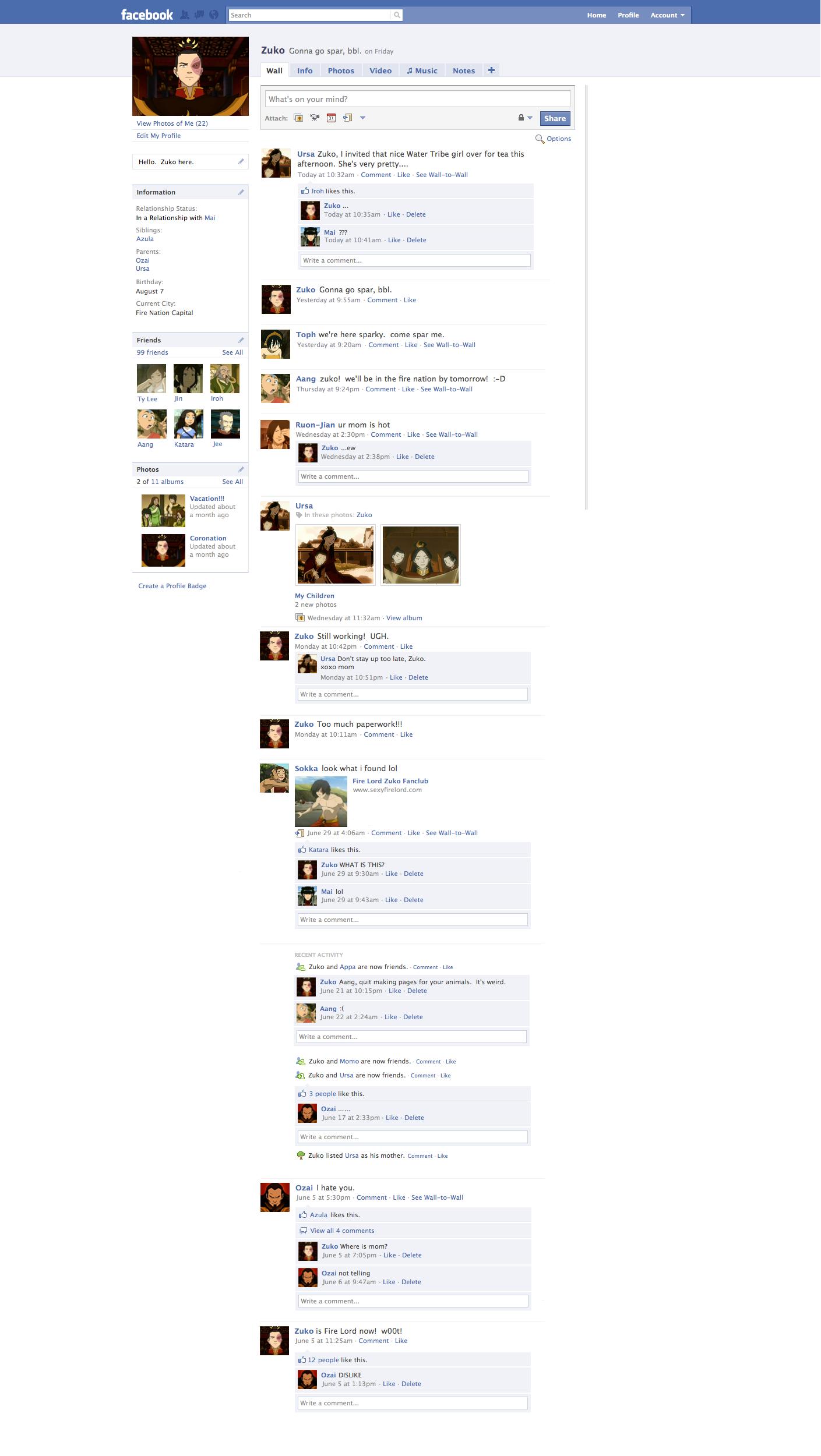 Zuko's Facebook by poopyhead1234
