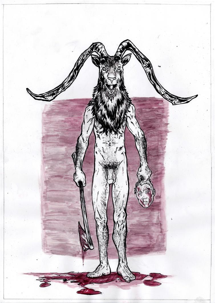 Satanic goat head drawing