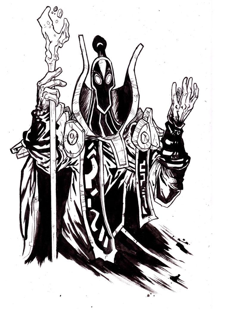 Dota 2 Character Design Pdf : Dota rubick quick a sketch black ink by igorchakal on