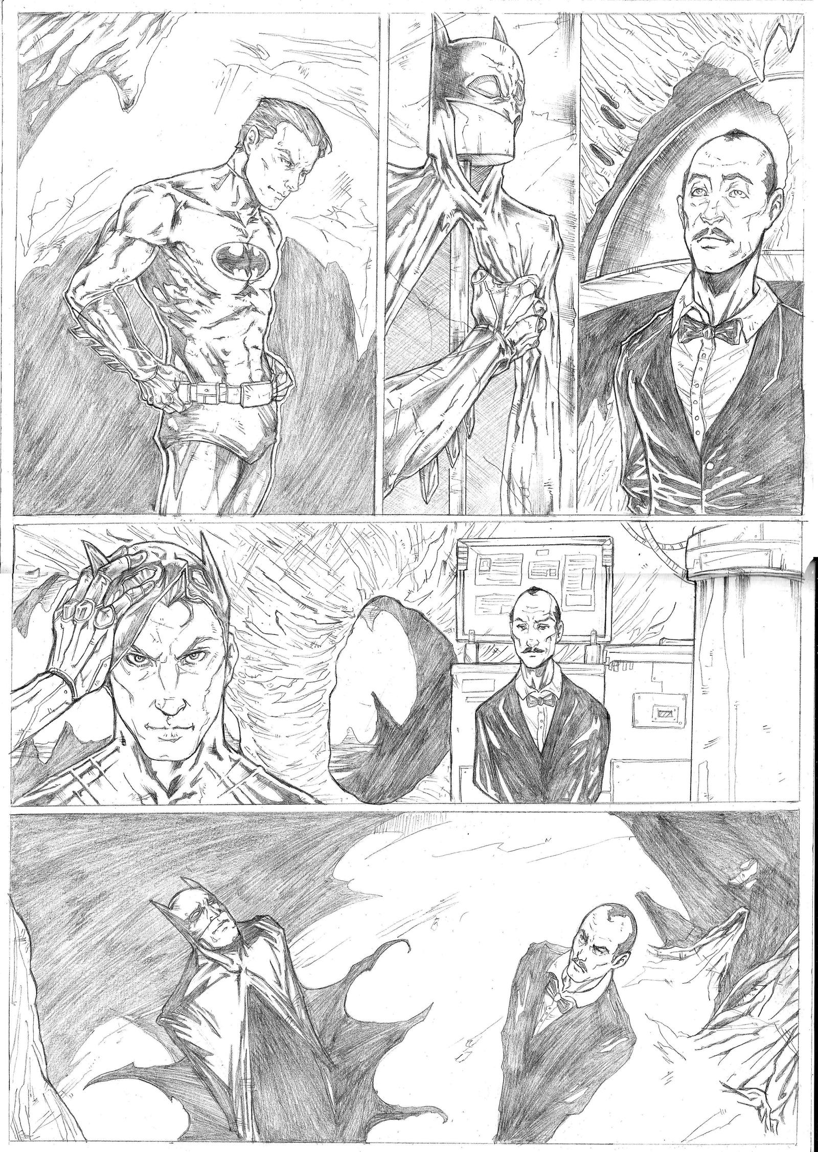Batman page 1 Sample - A3 pencil by IgorChakal