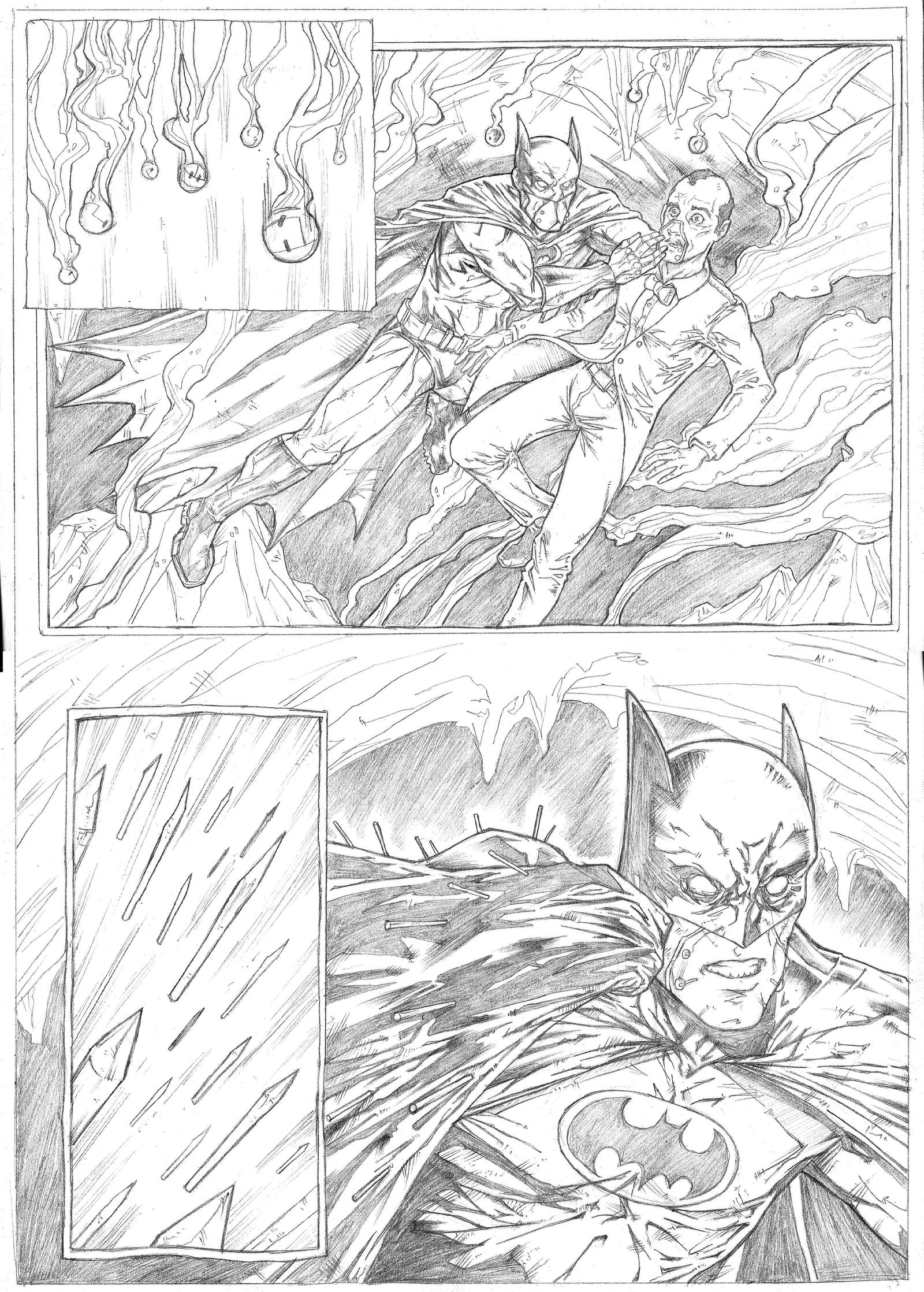Batman page 2 Sample - A3 pencil by IgorChakal