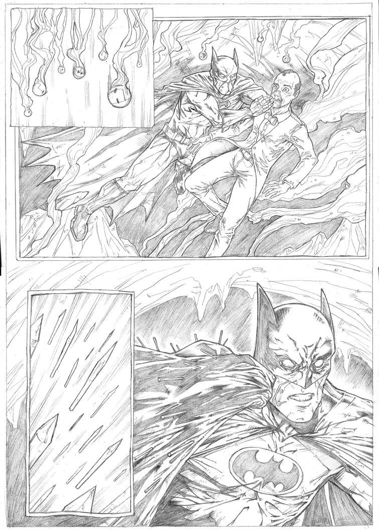 Batman page 2 Sample - A3 pencil by IgorChakal