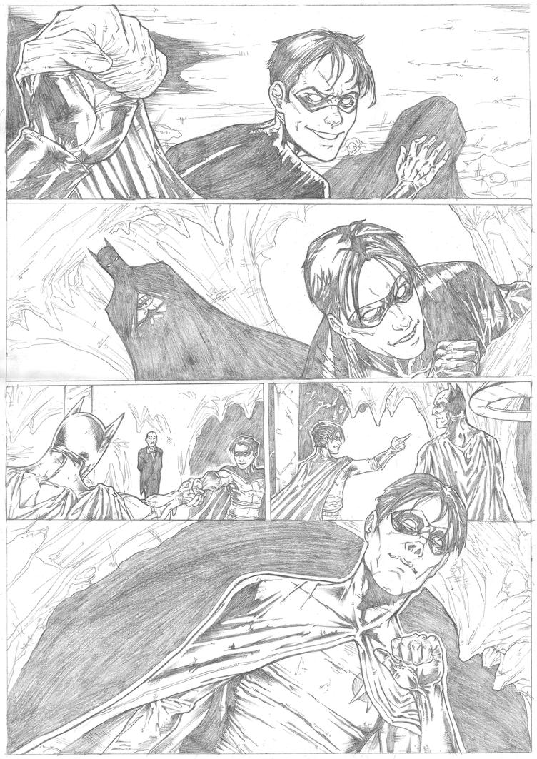 Batman page 4 Sample - A3 pencil by IgorChakal