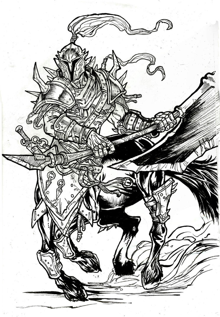Centaur Warrior Commission - A4 ink by IgorChakal