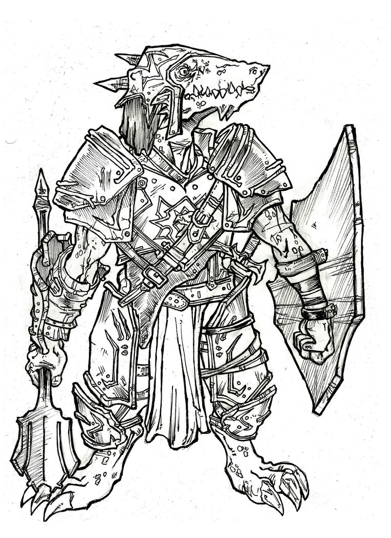 Cleric Kobold - A4 ink by IgorChakal