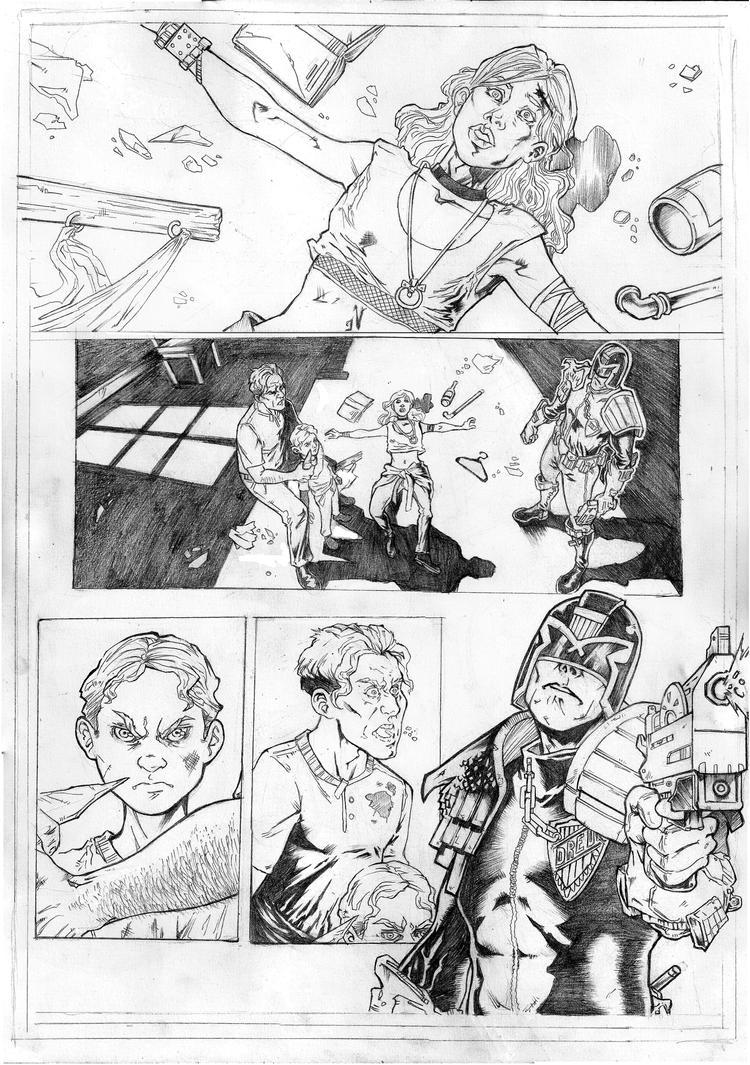 Judge Dredd sample Page 1 - Pencil A3 by IgorChakal