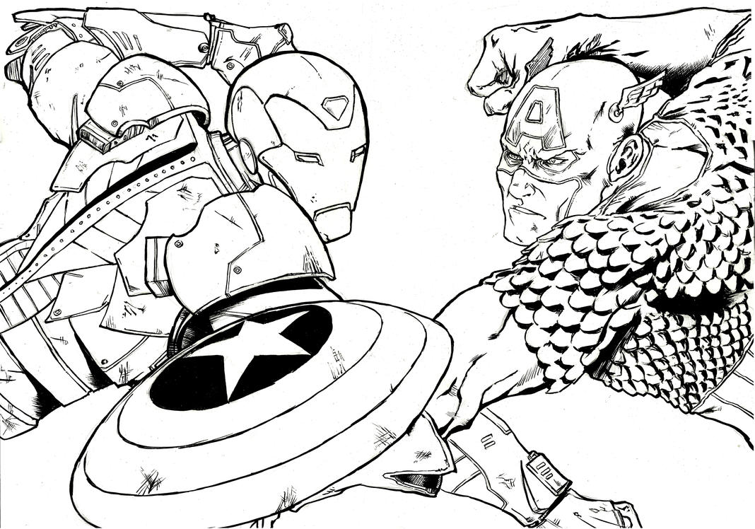 Marvel's Civil War A3 ink by IgorChakal