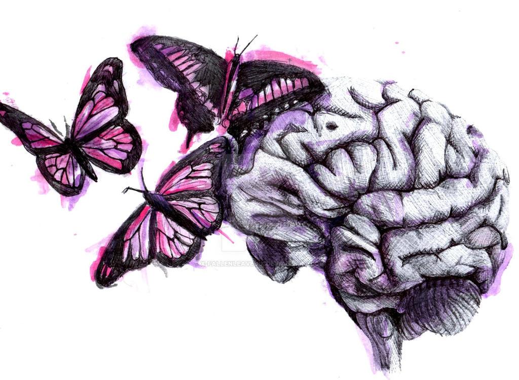 Brain and Butterflies by x-FallenLeaves-x