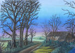 SPIKY TREES AND THE COTTAGE by DeanSidwellArt