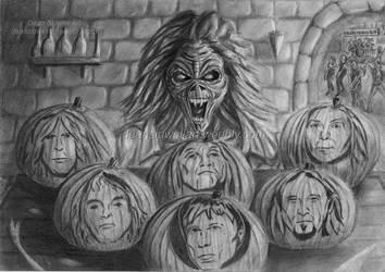 Eddie's Iron Maiden Pumpkins by DeanSidwellArt