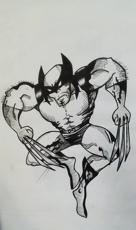Wolverine jump by KarolinaSkaUniverse