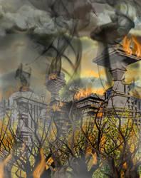 Burning Ruined Starbase by mylochka