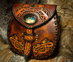 Celtic and Norse Dragon Leather Messenger Bag