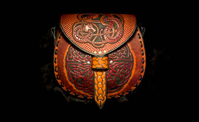 Celtic and Norse Dragon Leather Messenger Bag by EastCoastLeather