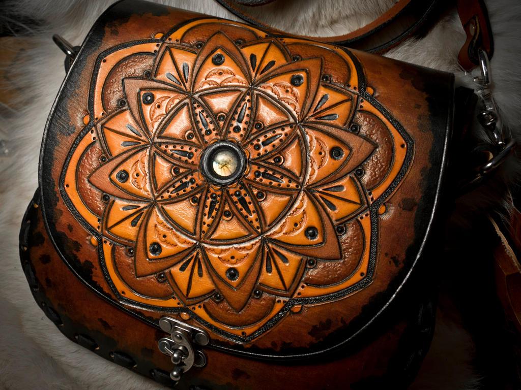 Sacred Geometry Leather Messenger Bag by EastCoastLeather