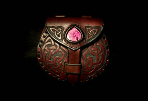 Celtic and Agate Leather Belt Pouch by EastCoastLeather