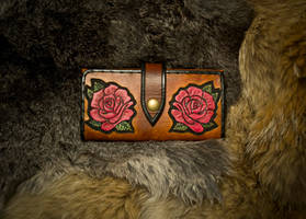 Leather Roses Long Wallet by EastCoastLeather