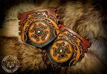Viking and Celtic Knot-Work Leather Dragon Bracers