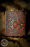 Victorian Scroll-Work Leather Journal Cover by EastCoastLeather