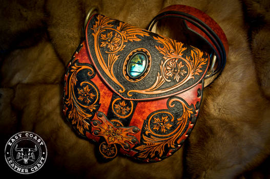 Victorian Style Leather Purse with Labradorite